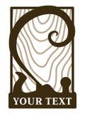 Logotype van houtbewerkingsworkshop met goede oude jointer spiraalvormige spaanders en het houten embleem van textuur Uitstekende stock illustratie