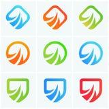 Logotypes abstraits de société d'icônes de puissance de vecteur réglés Photos stock