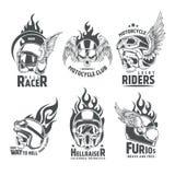 Logotypes ardents de casque de crâne de moto Images libres de droits