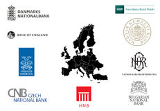 Logotypes of central banks of EU Stock Image