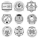Logotypes d'éducation élevée, d'université et d'académie Photo stock