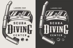 Logotypes d'annata di monocromio del centro di immersione subacquea illustrazione di stock
