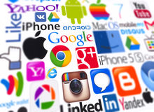 Logotypes de tipos de computação populares Imagens de Stock