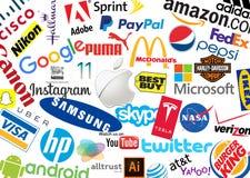 Logotypes di marca del mondo Fotografie Stock