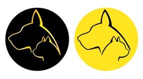 Logotypes do cão e gato ilustração do vetor