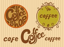 Logotypes do café de Handlettered Imagem de Stock Royalty Free