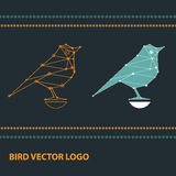 Logotypes with geometric birds made of constellation. royalty free illustration