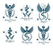Logotypes grecs d'abrégé sur vecteur d'Aesculapius composés avec des ailes, illustration stock
