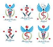 Logotypes grecs d'abrégé sur vecteur d'Aesculapius composés avec des ailes, des formes de coeur, des diagrammes d'ecg et des guir illustration de vecteur