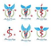 Logotypes grecs d'abrégé sur vecteur d'Aesculapius composés avec des ailes, des formes de coeur, des diagrammes d'ecg et des guir illustration libre de droits