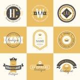 Logotypes retros do vintage ajustados Vector elementos do projeto, sinais do negócio, logotipos, identidade, etiquetas, crachás ilustração royalty free