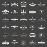 Logotypes retros do vintage ou vetor ajustado insígnias Imagem de Stock