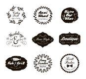 Logotypes retros e insígnias do vintage ajustados Vector elementos do projeto, sinais do negócio, logotipos, identidade ilustração do vetor