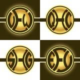 Logotypes ronds créatifs avec 3 lettres initiales Photo stock