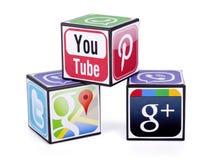 Logotypes of social media Stock Photos