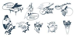 Logotypes tirés par la main de musique réglés Photo stock