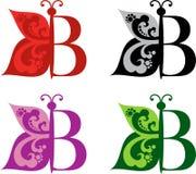 Logotypfjäril och bokstav B royaltyfri illustrationer
