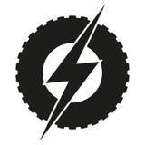 Logotyprundahjul med blixt Eco elkraft royaltyfri illustrationer