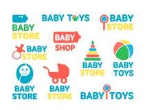 Logotypuppsättningen av behandla som ett barn diversehandel Arkivbild