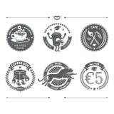 Logotypy ustawiający i Retro rocznik insygnie spokojnie redaguje projekt elementów wektora ilustracja wektor