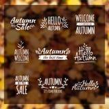Logotypy ustawiający Jesieni odznaki, etykietki, faborki royalty ilustracja