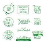 Logotypy ustawiający Odznaki, etykietki, faborki, rośliny ilustracja wektor