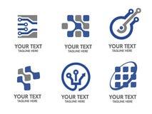 Logouppsättning för Digital elektronik stock illustrationer