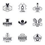 Logouppsättning för personlig renlighet, enkel stil stock illustrationer