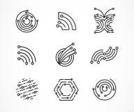 Logouppsättning - teknologi, techsymboler och symboler vektor illustrationer
