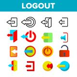 Logout Button Vector Thin Line Icons Set royalty free illustration