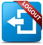 Logout cyan blue square button red ribbon in corner. Logout isolated on cyan blue square button with red ribbon in corner abstract illustration Royalty Free Stock Images