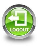 Logout glansowany zielony round guzik Obrazy Royalty Free