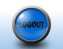 Logout icon. Circular glossy button. Stock Photography