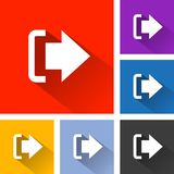 Logout icons with long shadow. Illustration of logout icons with long shadow Stock Photography