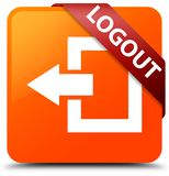 Logout orange square button red ribbon in corner. Logout isolated on orange square button with red ribbon in corner abstract illustration Stock Image