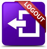 Logout purple square button red ribbon in corner. Logout isolated on purple square button with red ribbon in corner abstract illustration Royalty Free Stock Photography