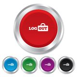 Logout sign icon. Log out symbol. Lock. Stock Image