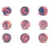 Logovektorsammlung, abstrakte geometrische Geschäftsnetzikone und Konzeptidee des Kugelbereichs gesetzte, lokalisiert auf weißem  lizenzfreie abbildung