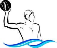 Logowasserball lokalisiert auf wei?em Hintergrund lizenzfreies stockfoto