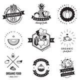 Logoweinlese-Vektorsatz des biologischen Lebensmittels Hippie und Retrostil Stockfotografie