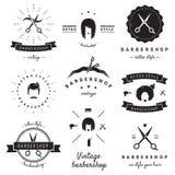 Logoweinlese-Vektorsatz des Friseursalons (Friseursalon) Hippie und Retrostil Lizenzfreie Stockfotos