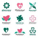 Logowie dla aptek, klinik, medycznego, i zdrowie Obraz Stock