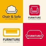 Logowie dla meblarskiego sklepu Kanapy i krzesła ikony Obraz Royalty Free