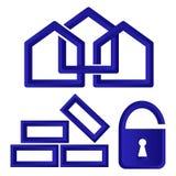 Logowie lub ikony dla firmy budowlanej Zdjęcie Royalty Free