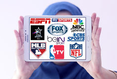 Logowie odgórni sławni tv sportów kanały i sieci Zdjęcie Stock