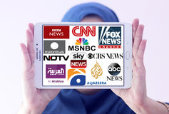 Logowie odgórni sławni tv nowi kanały, sieci i Zdjęcie Royalty Free