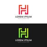 Logozeichen-Vektorikone abstrakten minimalistic h-Buchstaben saubere lizenzfreie stockfotografie