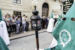 LOGROï-¿ ½ O, RIOJA, SPANIEN - 15. April: Karwoche, religiöse Traditionsprozession mit Leuten in den typischen Kostümen 201 am 15 Lizenzfreie Stockfotos