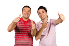 Logro-Amigos que llevan a cabo thumbs-up Foto de archivo libre de regalías