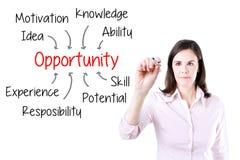 Logro de la oportunidad de la escritura de la mujer de negocios por muchos cualidad Aislado en blanco Foto de archivo